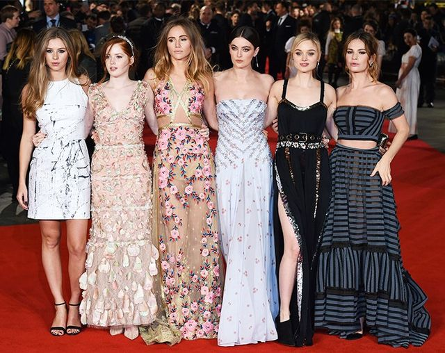 Hermione Corfield, Ellie Bamber, Suki Waterhouse, Millie Brady, Bella Heathcote and Lily James lined up at the Pride and Prejudice and Zombies premiere in London last night.