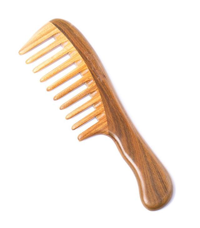 Breezelike No Static Wavy Handle Green Sandalwood Wide Tooth Comb