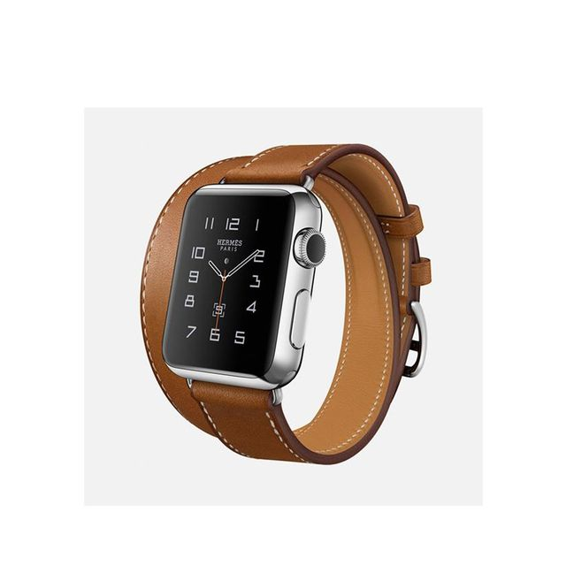 Apple Watch Hermès Double Tour, 38mm Stainless Steel Case with Fauve Barenia Leather Band