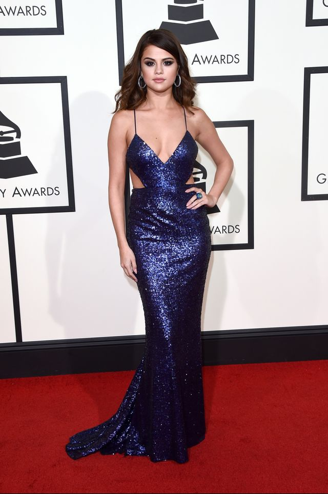 WHO: Selena Gomez WHAT: Presenter WEAR: Calvin Klein Collection dress, David Webb jewellery.