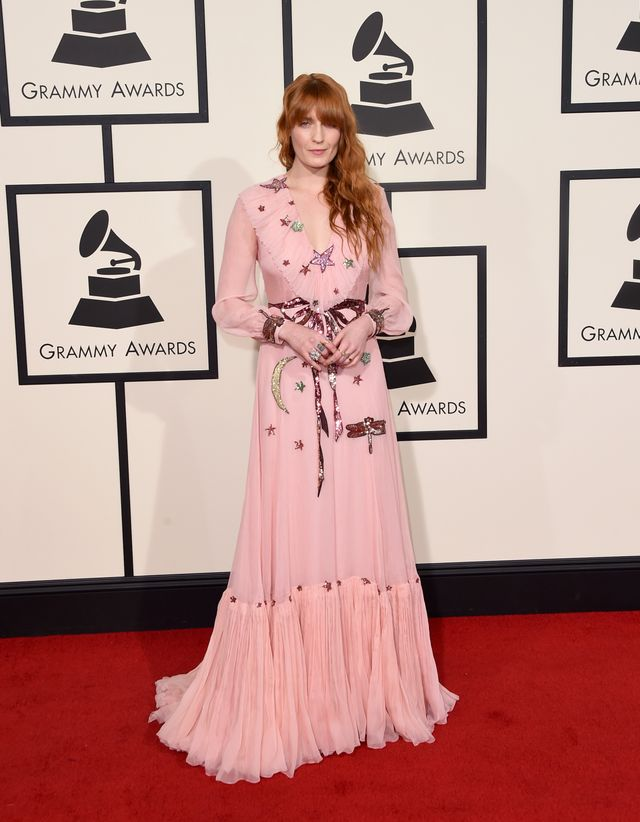 WHO: Florence Welch WHAT: Nominee, Best Pop Duo/Group Performance for Ship To Wreck WEAR: Gucci dress.