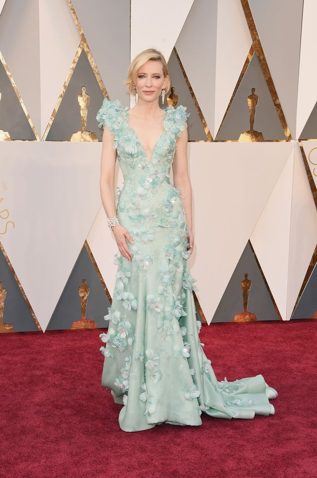 WHO:Cate Blanchett WHAT: Nominee, Actress in a Leading Role for Carol WEAR: ArmaniPrive seafoam green mermaid gown with Swarovski crystals and feathers; Tiffany & Co. jewelry; Roger...