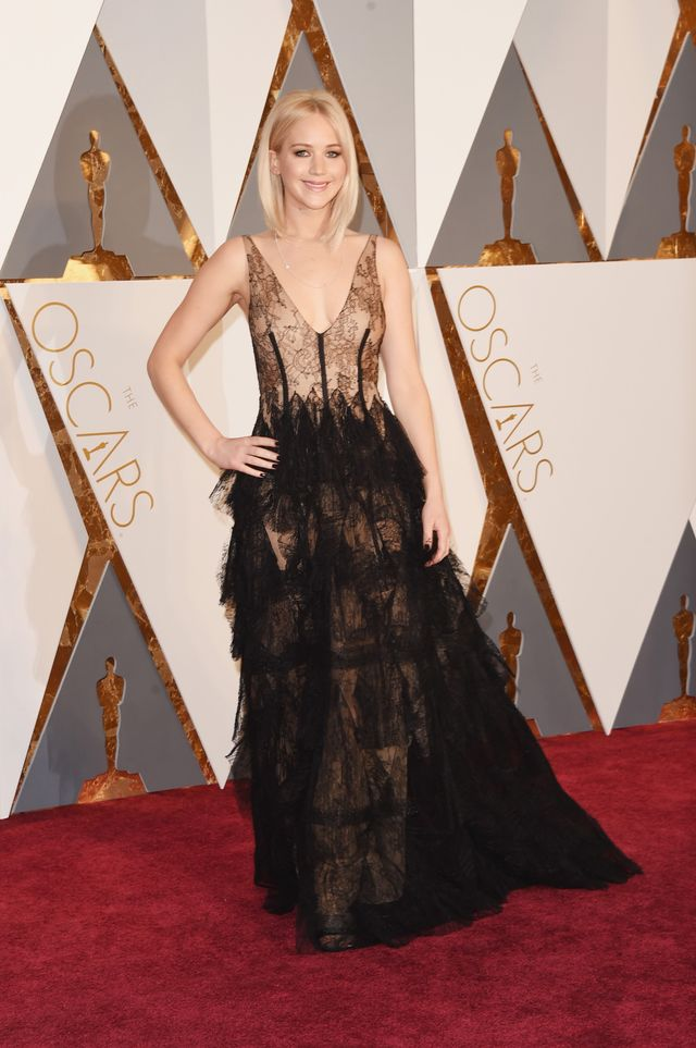 WHO:Jennifer Lawrence WHAT: Nominee, Actress in a Leading Role for Joy WEAR: Chopard jewellery.