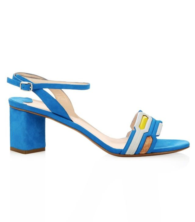 Peter Pilotto Geometric Block-Heel Suede Sandals