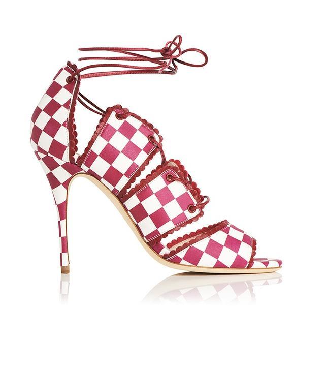 L.K.Bennett x Bionda CastanaJerry shoe in Raspberry and White Chequerboard (£350).