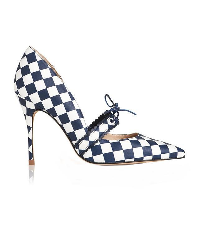 L.K.Bennett x Bionda CastanaJanuary shoe in Navy and White Chequerboard (£325).