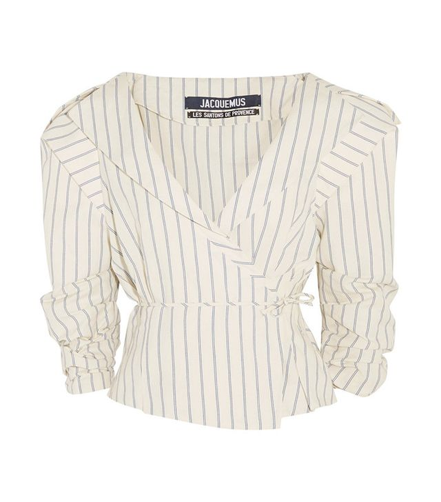 Jacquemus Striped Cotton and Linen-Blend Wrap Jacket