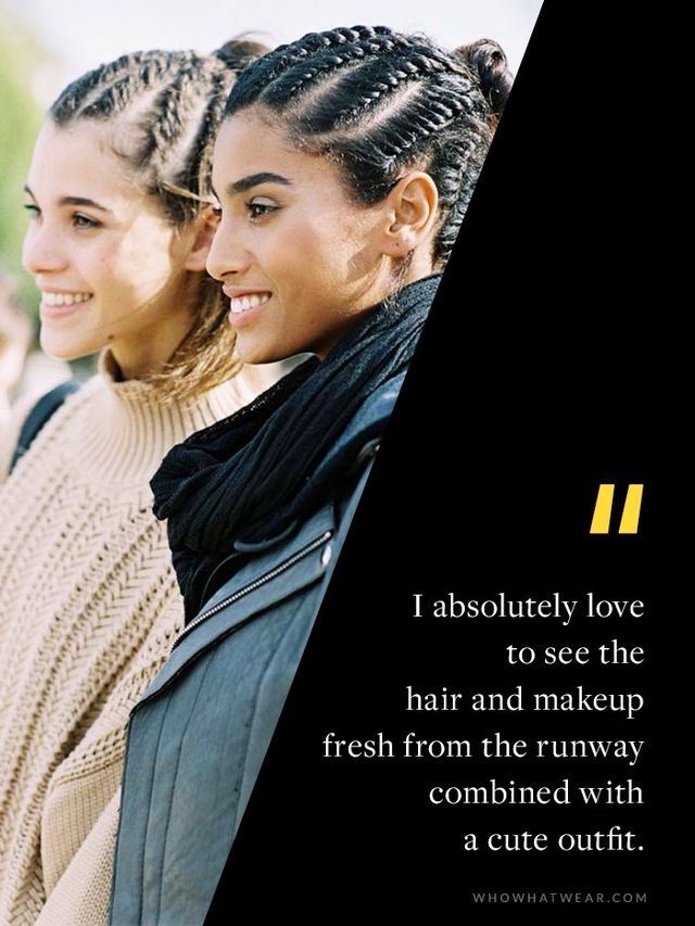 """""""One of the joys of shooting street style during fashion month is photographing models: I absolutely love to see the hair and makeup fresh from the runway combined with a cute outfit, even..."""