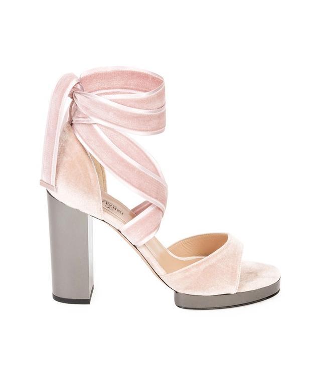 Valentino Ballet Fever Velvet Ankle-Wrap Sandal