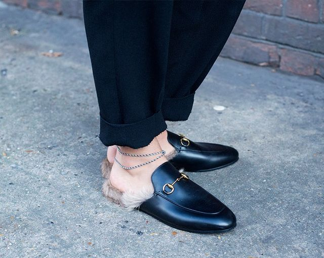 Style Notes: Gucci's backless loafers create a wide open space for anklet action. Sothe anklet is steppingback into vogue and they're becoming a part of the standard offering from...