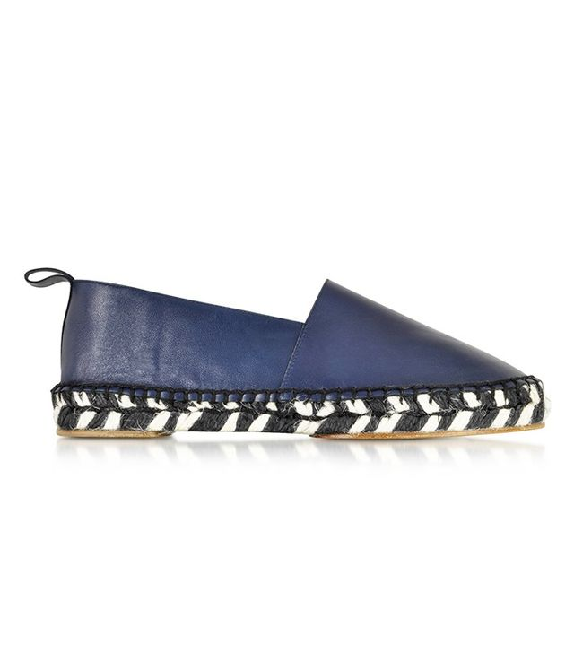 Proenza Schouler Blue Leather and Jute Espadrille