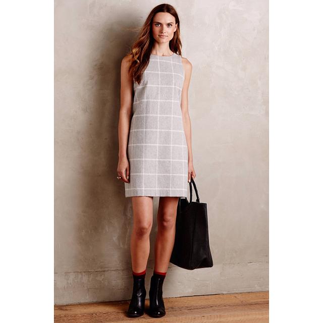 Paper Crown Checkpane Shift Dress
