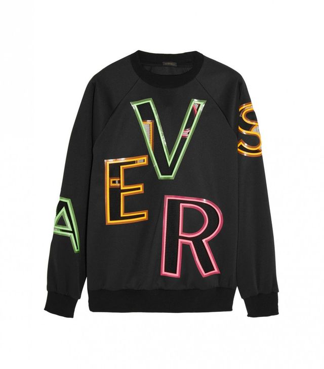 Versace Oversized Mesh-Paneled Stretch-Neoprene Sweatshirt