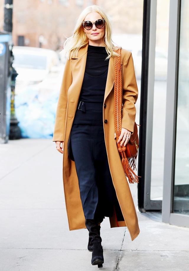 On Kate Bosworth:Erdem x Linda Farrow sunglasses;A.L.C. dress;Altuzarra Ghianda Bullrope Small Saddle Bag (£1515) in Caramel; Stuart Weitzman Highland Boots...