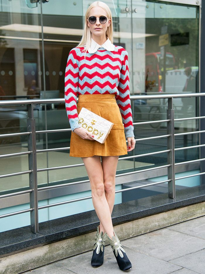 Valentine's day date night outfits: a jumper, miniskirt and boots combo as seen on Poppy Delevingne