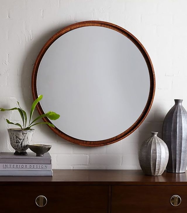 West Elm Floating Round Wood Mirror