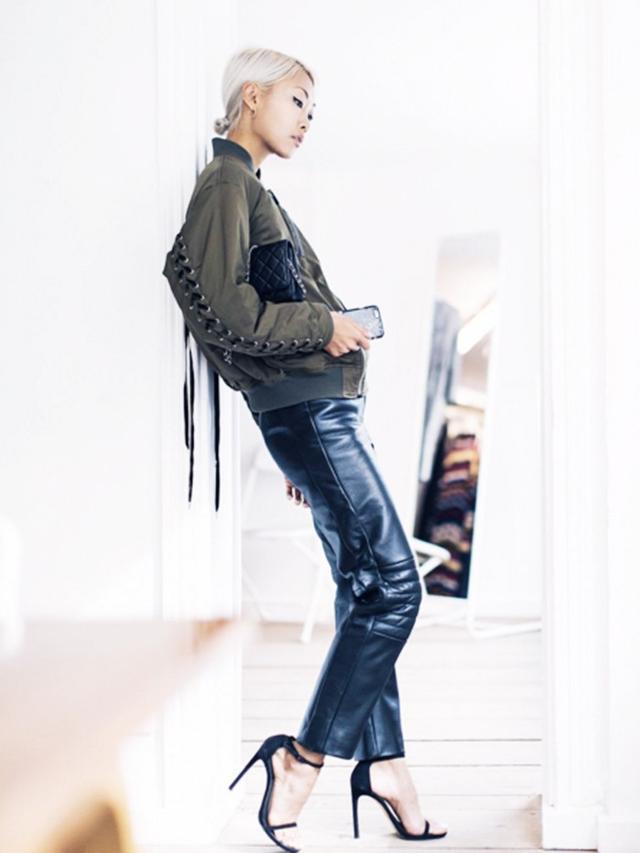 On Vanessa Hong:GVGV bomber jacket; Chanel bag; Charlie May LeatherMoto Pants(£650).