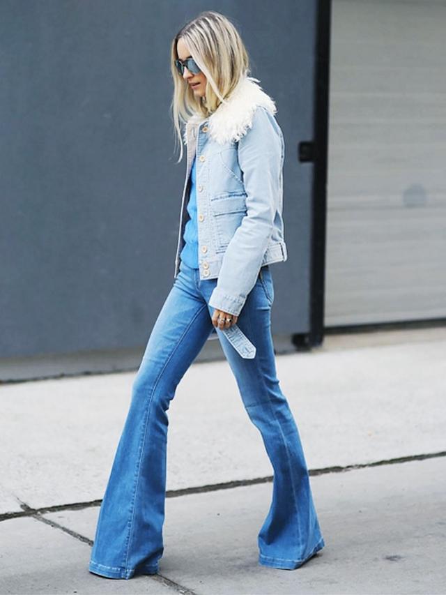 On Charlotte Groeneveld:Chloé jacket; Polo Ralph Lauren Sweater; Paige Lou Lou Flared Jeans(£253).