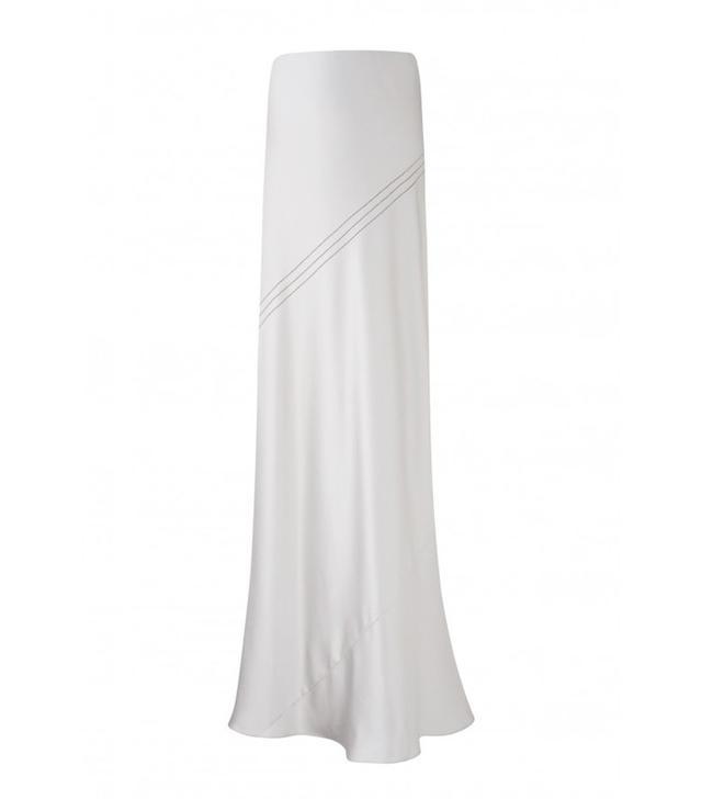 Amanda Wakeley Oleta Silver Silk Skirt