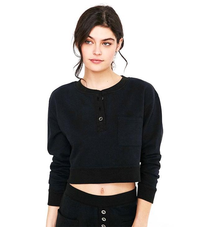 CXM Cropped Henley Sweatshirt