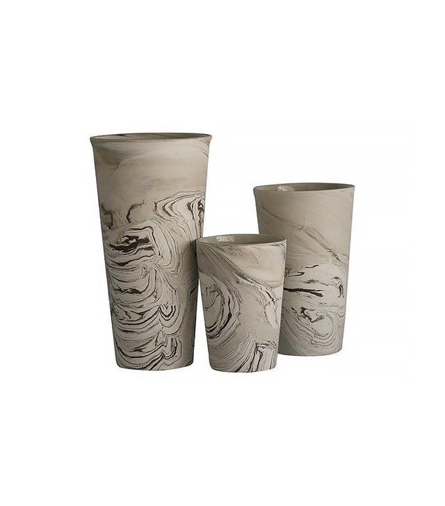 One Kings Lane Ceramic Marbelized Vases Set of 3