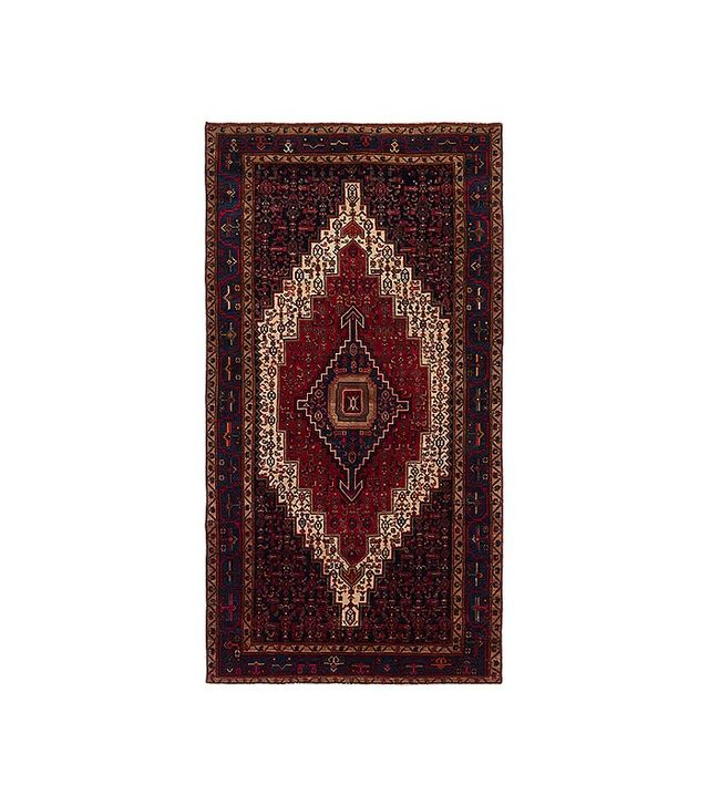eCarpetGallery Hand-Knotted Senneh Dark Navy Red Wool Rug