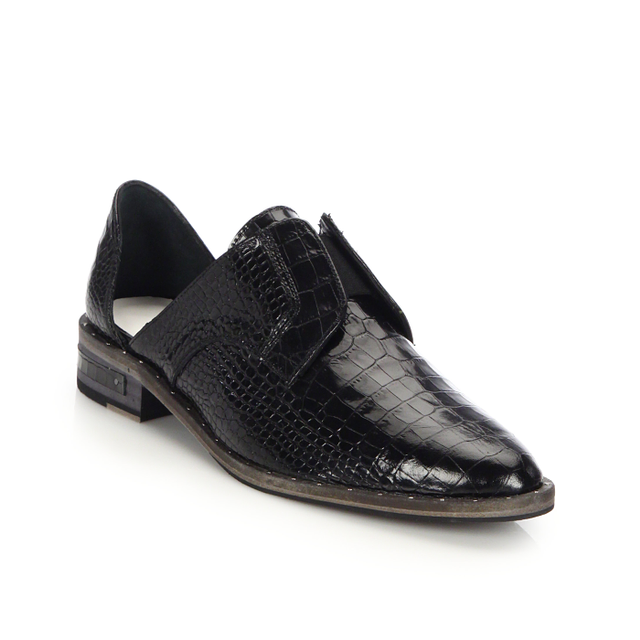 Freda Salvador Wear Laceless Croc-Embossed Leather Oxfords