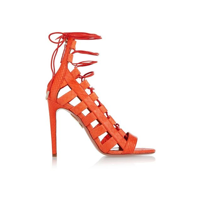 Aquazzura Amazon Lace Up Elaphe Sandals