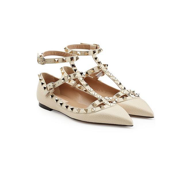 Valentino Rockstud Leather Ballet Flats
