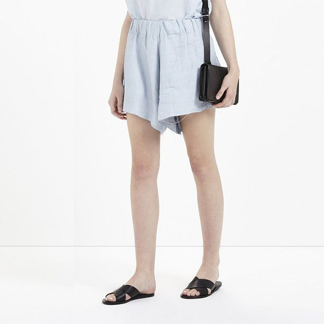 Bassike Chambray Linen Flared Shorts