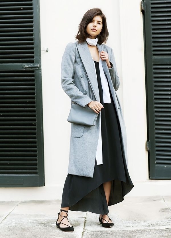 Style Notes:Wear a long coat over your slip dress and accessorize with a skinny scarf and lace-up flats.