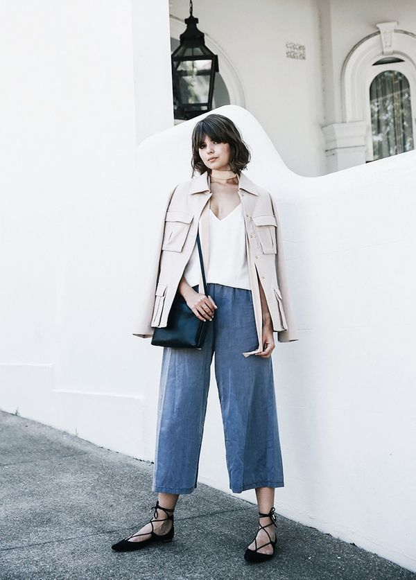 StyleNotes:Experiment with denim culottes by styling them with a boxy jacket and a simple camisole.