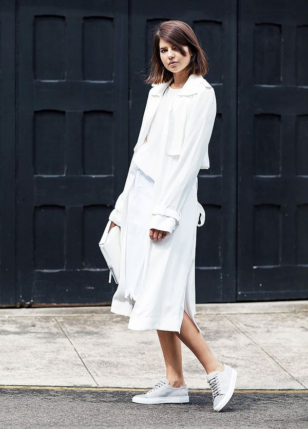 StyleNotes:Go monochrome with a white silky trench, dress, and sneakers.
