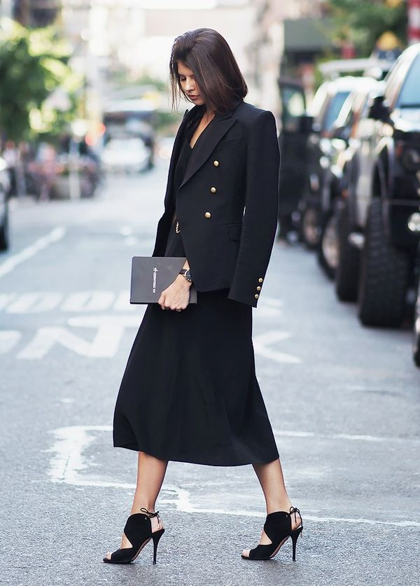 StyleNotes:Dress up an LBD and heels with a structured blazer.