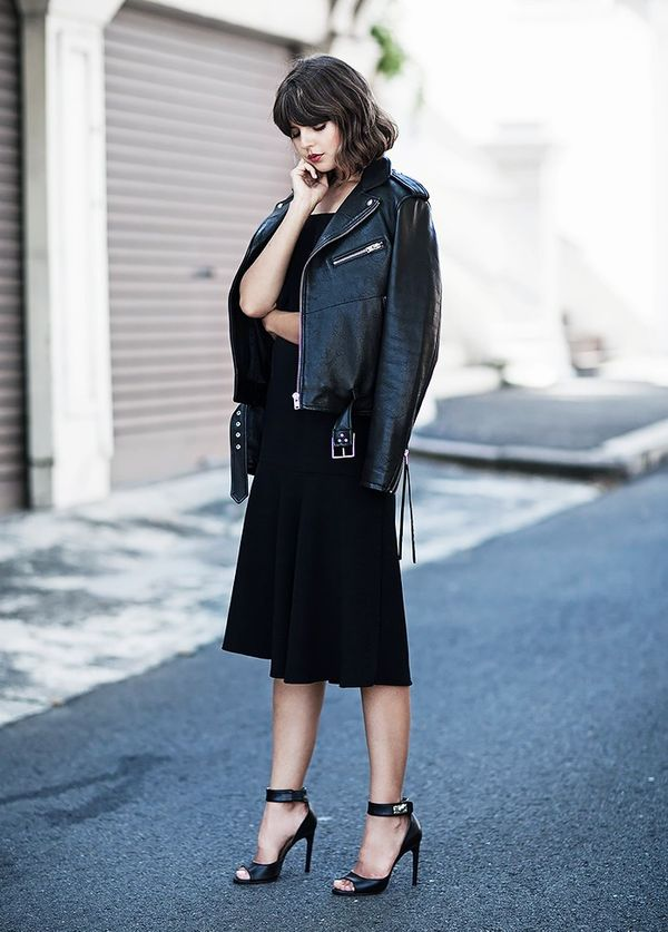 Style Notes:When in doubt, a moto jacket and midi dress is a fail-safe combination. A pair of ankle-strap heels won'thurt, either.