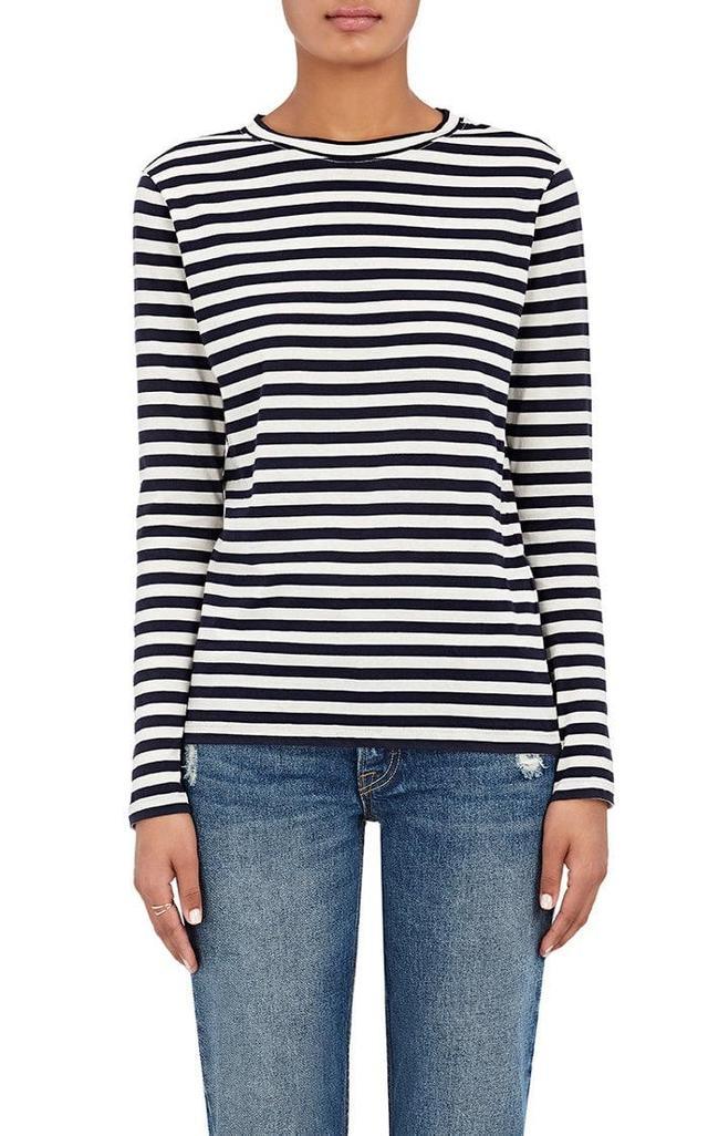 Women's Striped Cotton Jersey Long-Sleeve T-Shirt