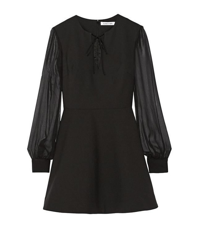 Elizabeth & James Leonela Silk Chiffon-Trimmed Stretch-Cady Mini Dress