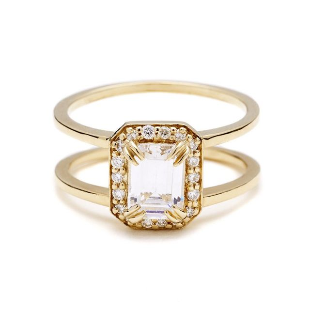 Anna Sheffield Attelage Emerald-Cut Diamond Ring