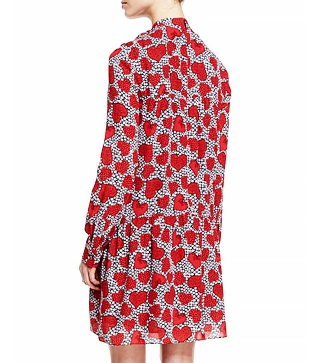 Valentino Bow-Neck Daisy Hearts-Print Shift Dress