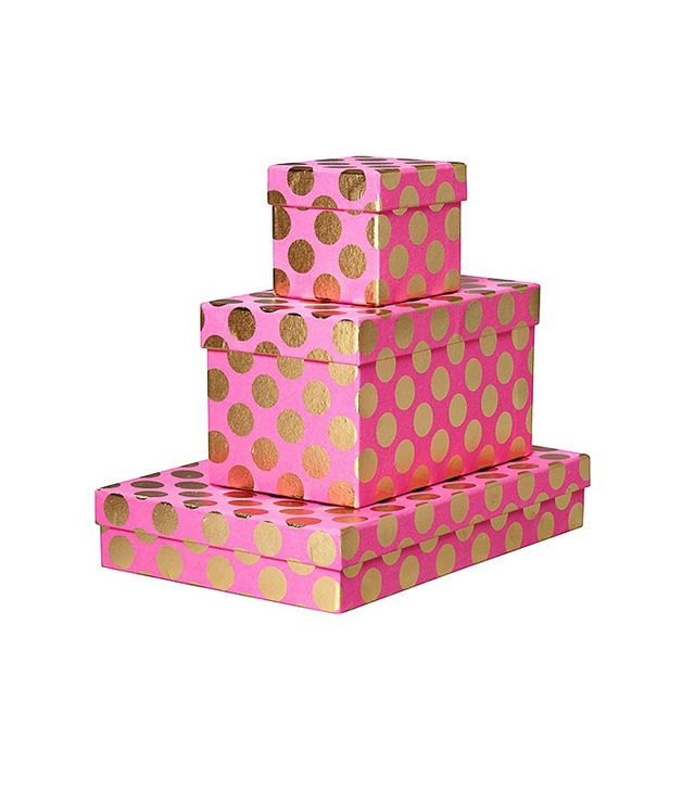 Paper Source Fuchsia & Gold Dots Gift Boxes