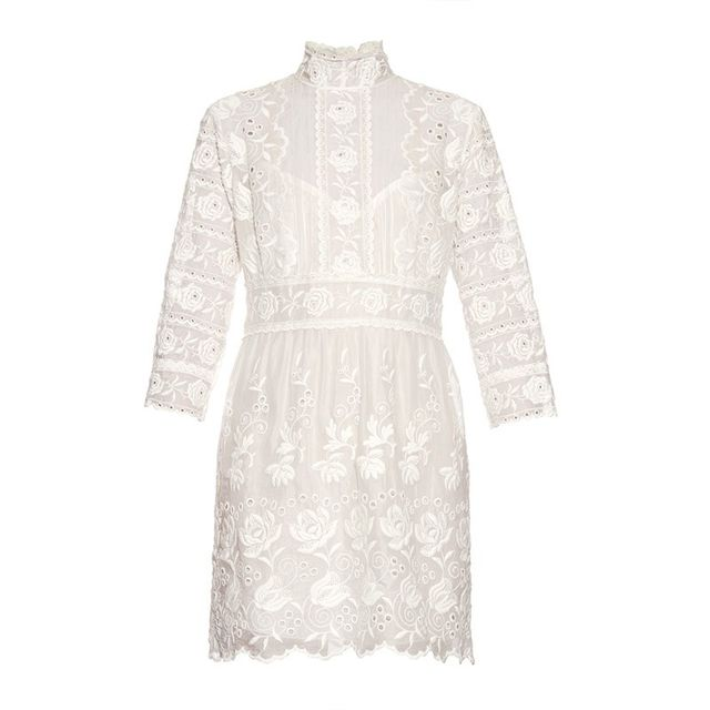 Marc Jacobs High Neck Embroidered Silk Dress