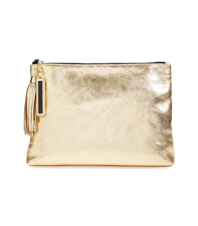 Loeffler Randall Tassel Metallic Leather Pouch