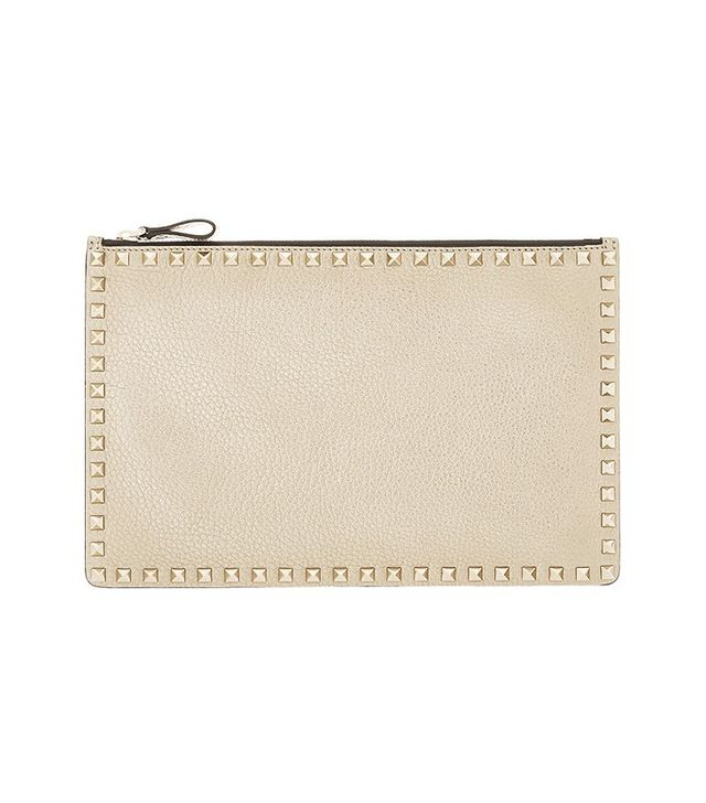 Valentino The Rockstud Metallic Textured Leather Pouch