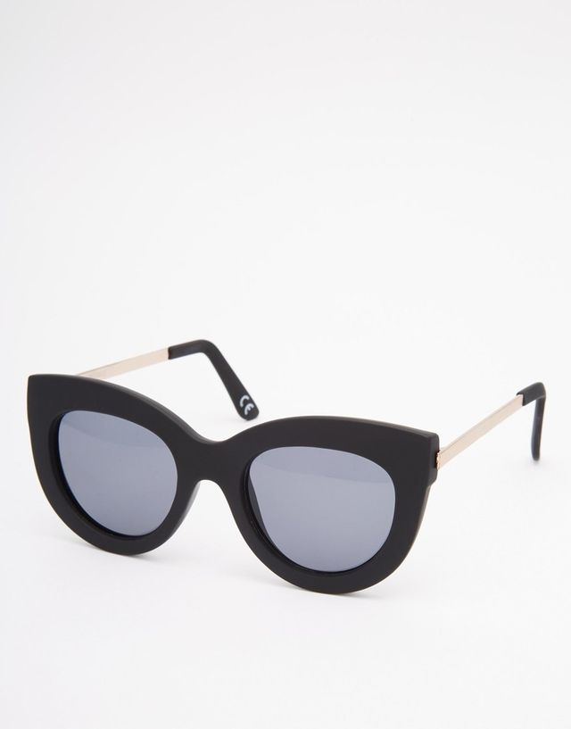 ASOS Chunky Cat Eye Sunglasses with Metal Arms in Rubber