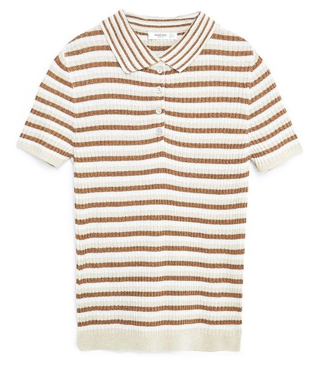 Mango Ribbed Metal Polo Shirt