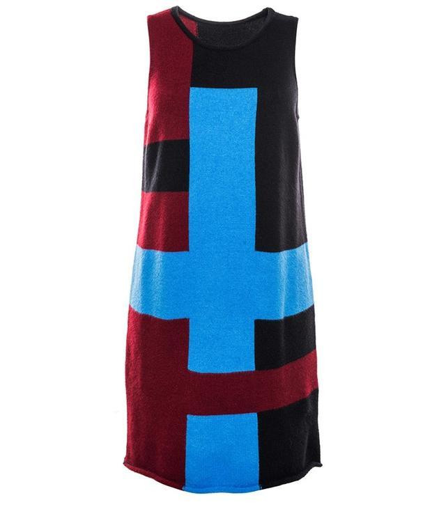Front Row Shop Blue Color Block Knitted Vest Dress