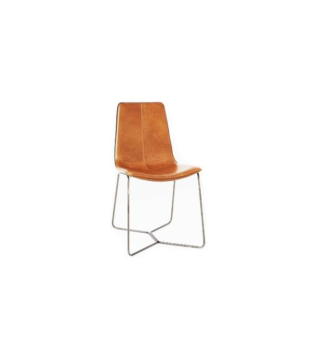 West Elm Leather Slope Dining Chair