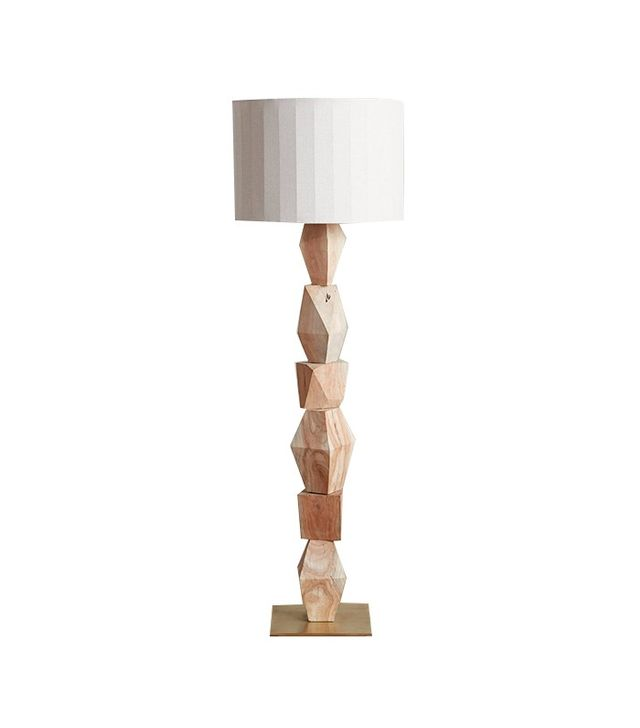 Anthropologie Stacked Woodblock Floor Lamp Ensemble