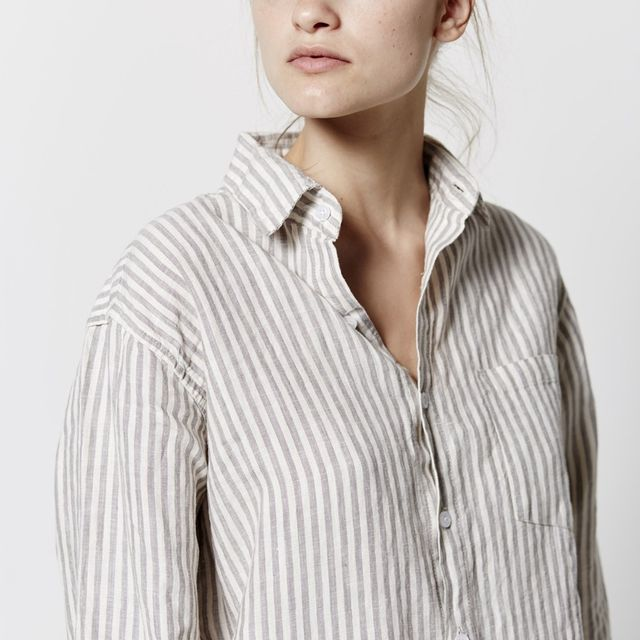 In Bed 100% Linen Shirt in Stripe