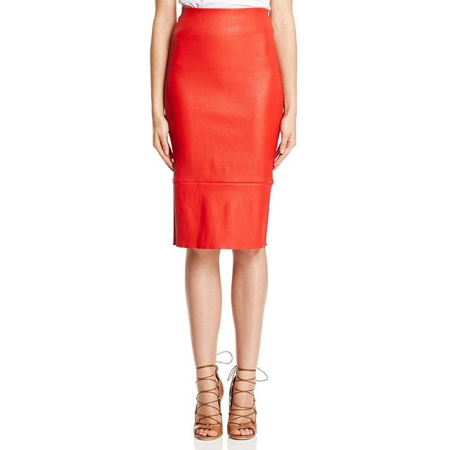Scanlan Theodore Stretch Leather High Waist Skirt
